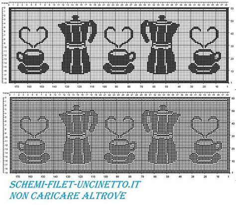 schemi filet tende tenda mantovana bordo caffettiea e tazze schema filet