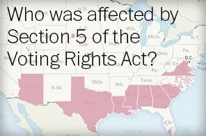 Areas Covered By Section 5 Of The Voting Rights Act The