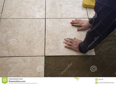 Ceramic Floor Installation Ceramic Tile Installation Royalty Free Stock Photos
