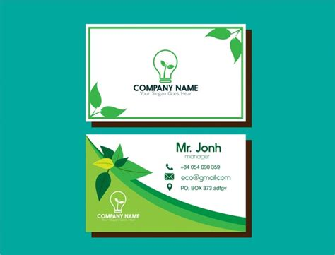 eco business card templates eco business card green leaf and bulb design free vector
