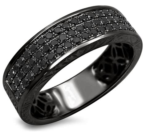 Black Sapphire 11 66 Ct mens 55ct black pave wedding band ring 14k