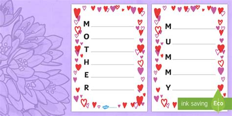 Zulu Poems For Mothers Day S Day Acrostic Poem Sheets Hearts Acrostic Poems