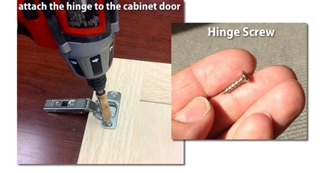 attach the hinges to the cabinet door