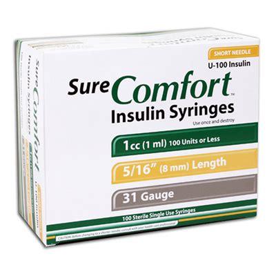 sure comfort insulin syringes 30 sure comfort insulin syringes 31 1 cc 5 16 100 ea