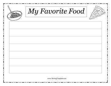 favorite food writing template writing template