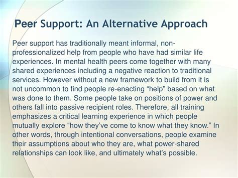 intentional peer support an alternative approach books ppt types of for peer crisis navigators