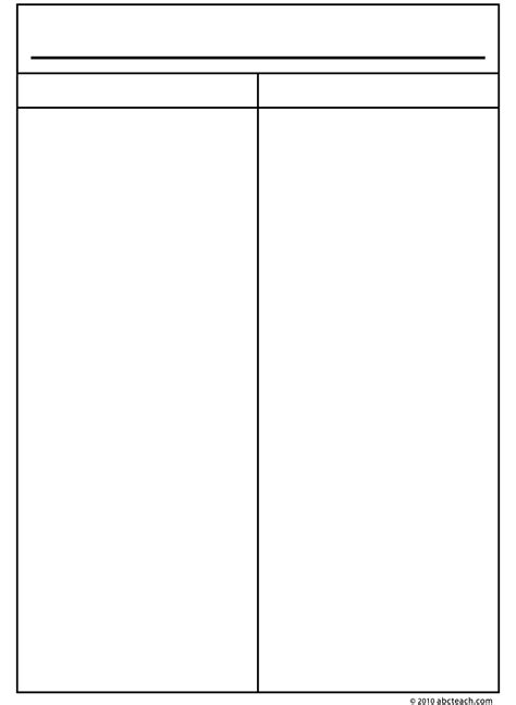 column templates 7 best images of printable two column notes blank 2