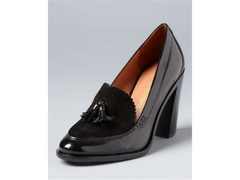 high heeled loafers black pour la victoire loafer pumps drew high heel in black lyst