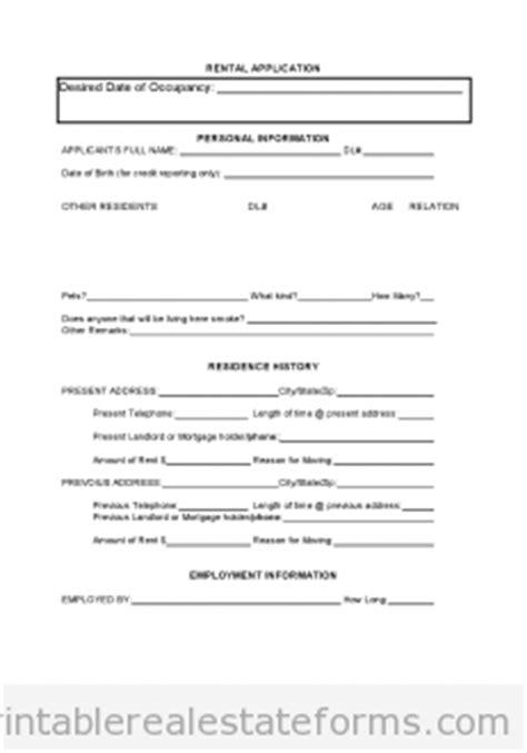 Free Tenant Rental Application Printable Real Estate Forms Printable Real Estate Forms Real Estate Rental Application Form Template
