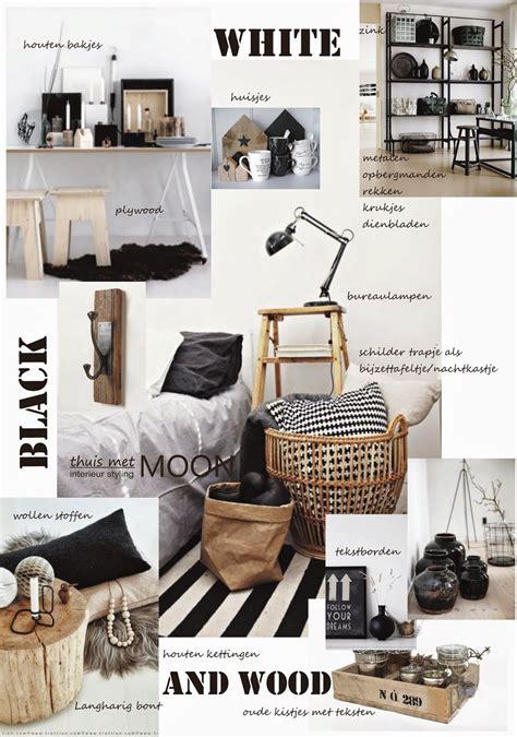 thuis met moon zwart wit met hout voor een warm interieur