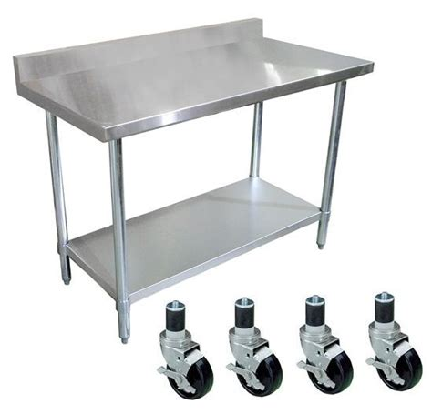 stainless steel table with casters stainless steel work prep table 30 x 72 with 4 quot backsplash