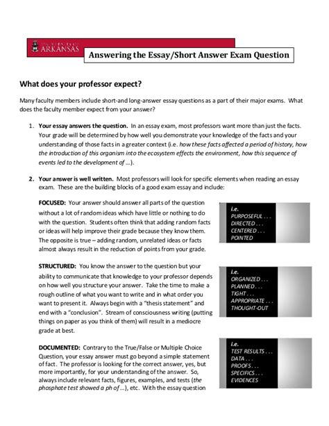 essay format answering questions answering the essay short answer exam question