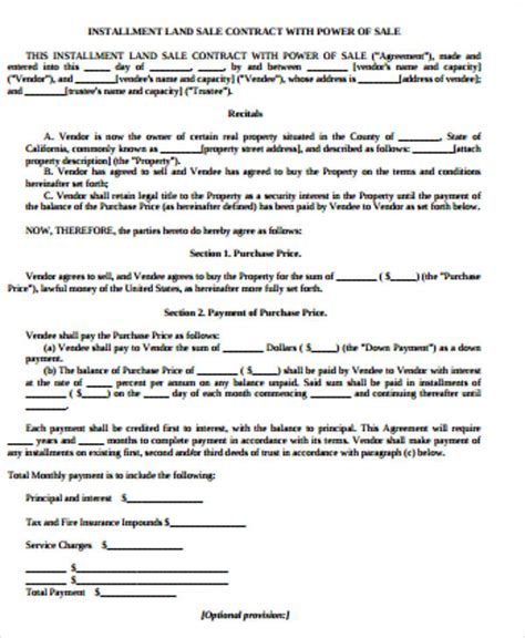 sample land contract agreement  examples  word