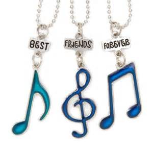 Best friends forever mood music notes pendant necklaces possibility