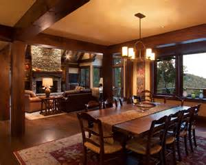 Rich Home Interiors by Beautiful Log Cabin Dining Rooms