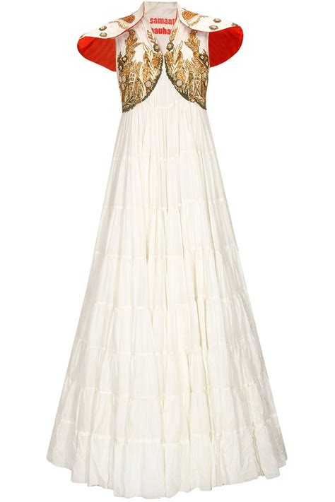 White Heavy Dress white embroidered heavy layered dress by samant chauhan shop now http www perniaspopupshop