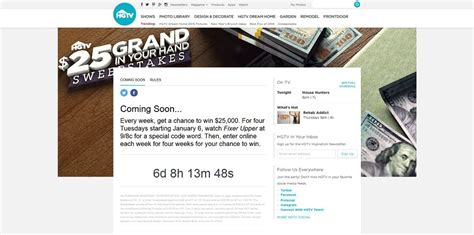 Single Entry Sweepstakes - hgtv com 25grand hgtv 25 grand in your hand sweepstakes buying and selling code word