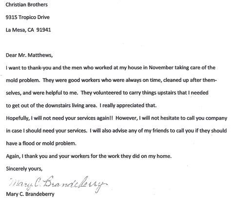Insurance Mitigation Letter Water Damage Removal Encinitas Christian Brothers Restoration