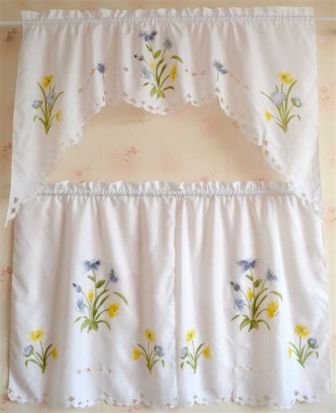 set of country floral cafe kitchen curtain with