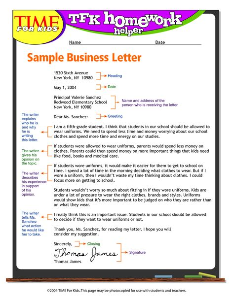 Business Letter Format 4th Grade exandle business letter format for write business