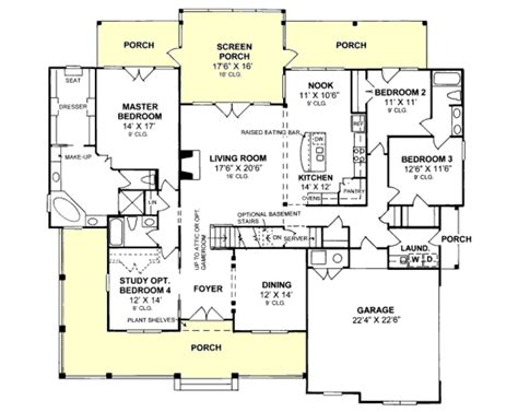 floor plans aflfpw13992 1 story farmhouse home with 4 one story floor plan with upstairs bonus needs a