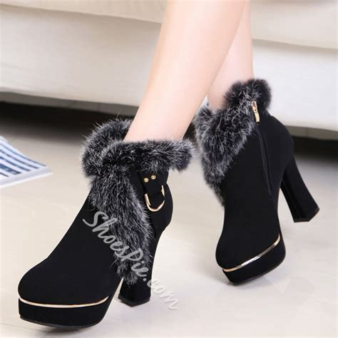 Chunky Heel Snow Boots shoespie chic chunky heel snow boots shoespie