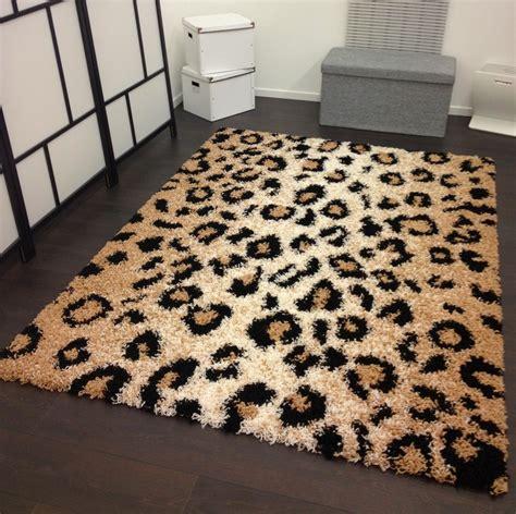 teppich leopard shaggy teppich hochflor langflor leo muster leopard beige