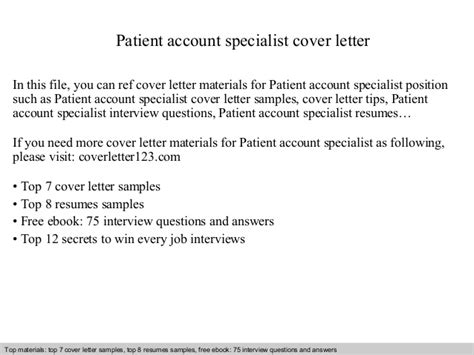 Patient Care Specialist Cover Letter by Patient Account Specialist Cover Letter