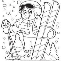 girl winter coloring page girl skiing 187 coloring pages 187 surfnetkids