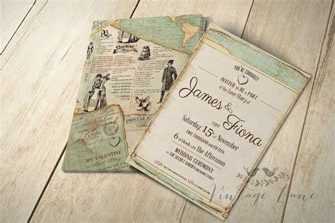 vintage travel themed wedding invitations wedding invitations