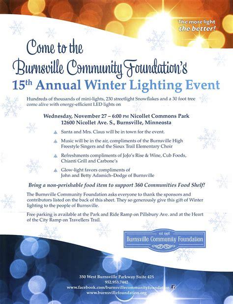 lighting stores burnsville mn come to the burnsville community foundation s winter