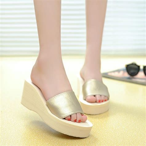 comfortable high heels for plus size women beach sandals casual fashion brand comfortable flip