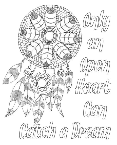 printable animal quotes free adult coloring page dream catcher with quote