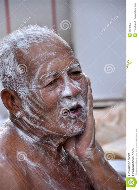 old man bathroom old man stock photography image 32742482
