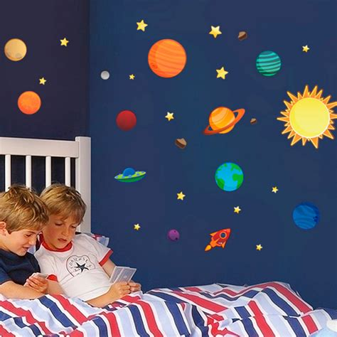 space decor 2016 new creative solar system wall stickers plane wall