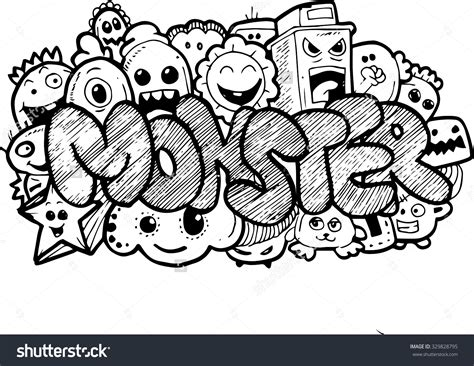 doodle monsters handdrawn doodle stock illustration