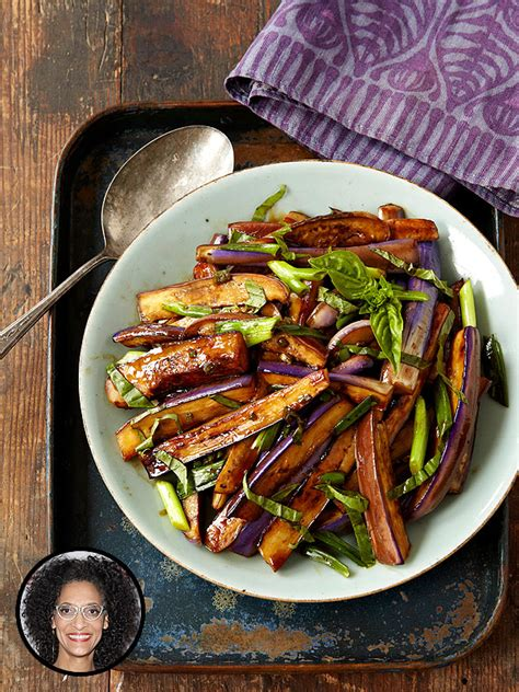 Hot and sour eggplant stir fry from the chew s carla hall health
