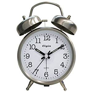 elgin qa bell alarm clock silver home kitchen