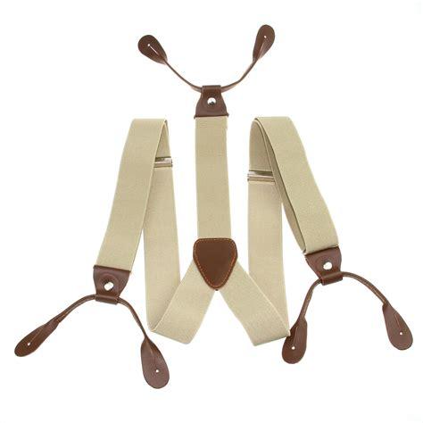 Suspender Dewasa 3cm 3 5cm width mens suspenders braces solid adjustable 6 button leather bd7h ebay