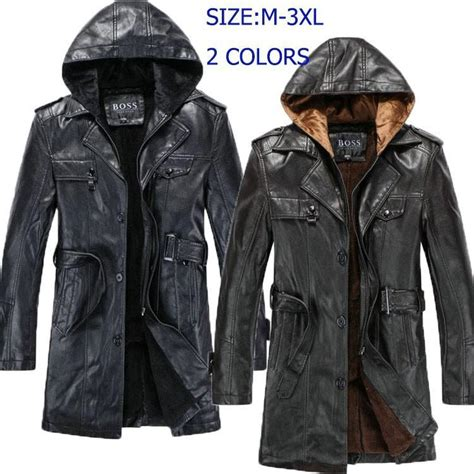 Hooded Trench Jacket winter single breasted hooded leather jacket trench