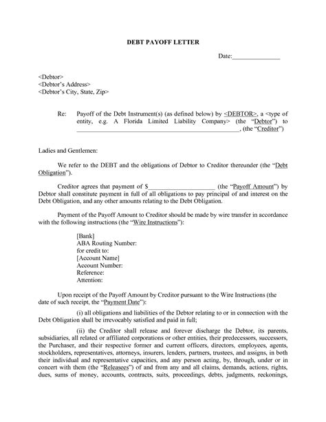 Letter Of Agreement To Pay Debt Agreement Letter To Pay Debt