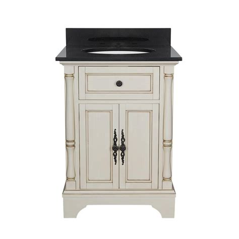 Black Bathroom Vanity With White Marble Top Albertine 25 In Vanity In White With Granite Vanity Top In Black With White Basin