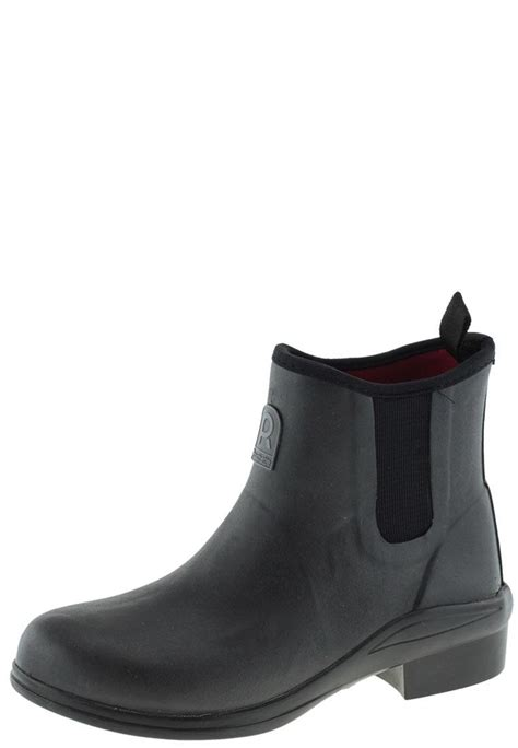 heel ride black rubber boots by rouchette