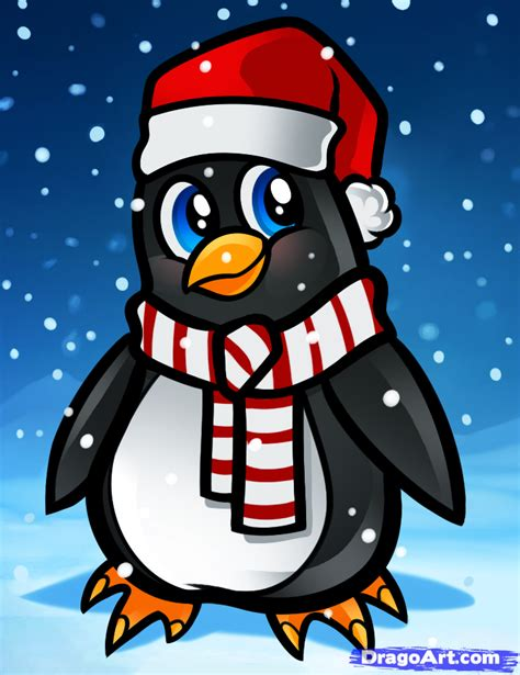 cartoon christmas penguin how to draw a christmas