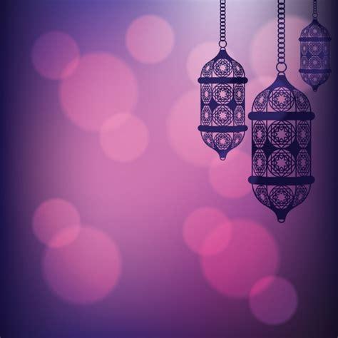 Arabic Pink purple arabic lantern background vector free