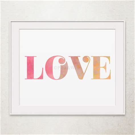 girly printable wall art love print love printable art girly from pinkandwise on etsy