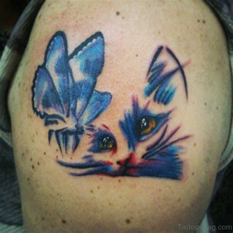 tattoo cat and butterfly 77 wonderful cat tattoos on shoulder