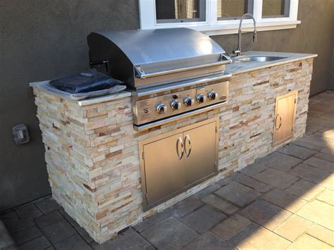 Kitchen Mobile Island Custom Bbq Island 9 With Granite Top Amp Stone Veneer Yelp