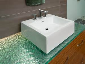 glass countertops with variety of textures and colors