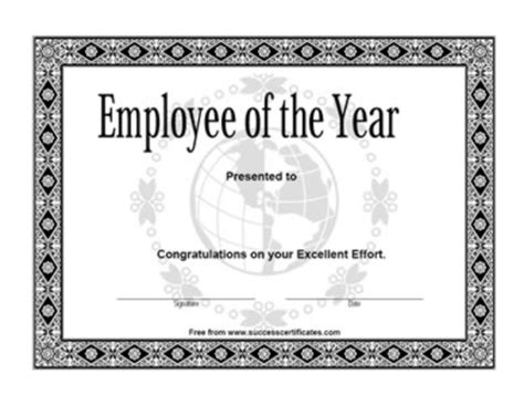 employee of the year achievement award 1 certificate